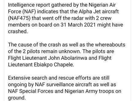 Nigerian Air Force Releases Update on Missing Fighter Jet, Details of Pilots