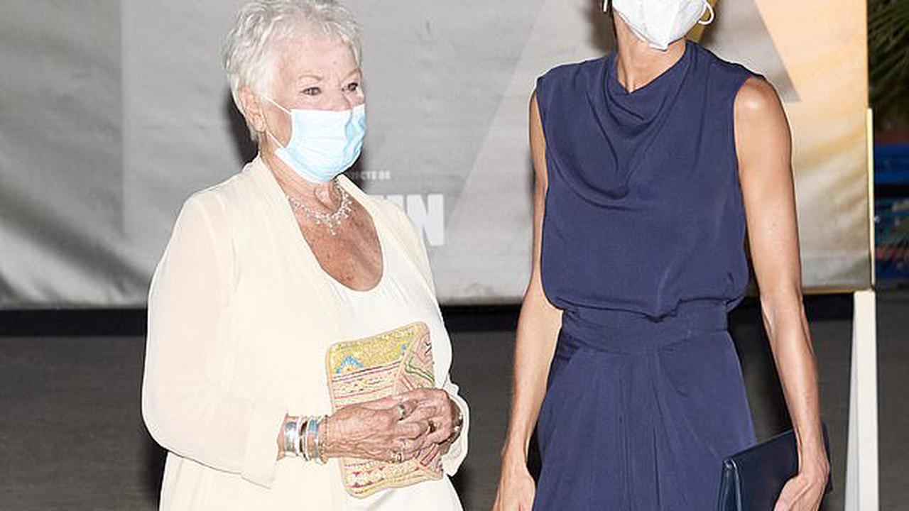 Queen Letizia of Spain delivers the Masters of Cinema award to Judi Dench, 86, during the closing ceremony of Atlantida Mallorca Film Festival