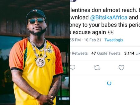 Reactions after Davido advised men to trade on an App send and money to their girlfriends