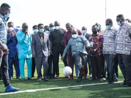 See Nana Addo Scoring Goals as he Commissioned astroturf facility for UPSA.