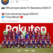 Fans react after Barcelona revealed its official team photo for 2020-2021 season.