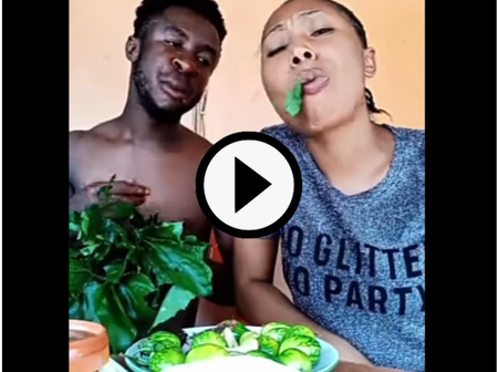Reactions As Man & His Girl Ate 'Ugwu', stock Fish, Garden Egg, Peanut Butter, & Beer At The Same