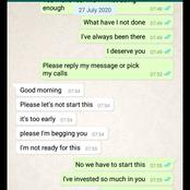 A lady begs a man for love. See the heartbreaking chats