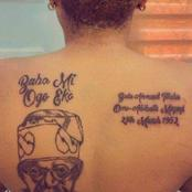 Unidentified lady tattoos Tinubu's face on her back.