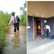 Teacher wows Ghanaians as he walks through 'Torrential Rain' to teach