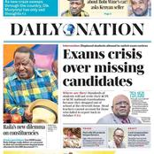 Monday Newspapers: KNEC Exam Crisis, Form Fours Headache, Ruto Answers Uhuru, Raila Troubles In Coast