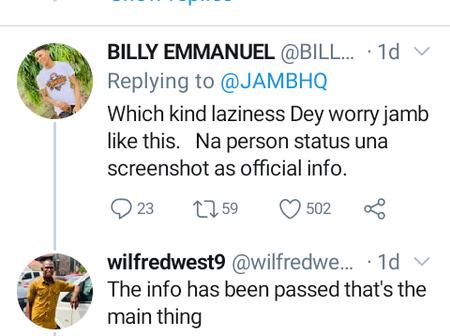 Reactions as JAMB posts WhatsApp screenshots as official information