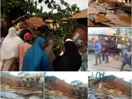 Three houses destroyed as a truck rammed into them at Osisi in Ogaminana, Adavi LG