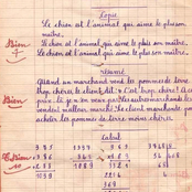 Education Nationale : une page des devoirs de calcul, résumé et copie en 1954, suscite beaucoup d'admiration