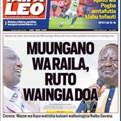 Today's Newspaper Headlines: Ruto Raila Pact Face Hurdles. Search For New CJ Hit Turbulence