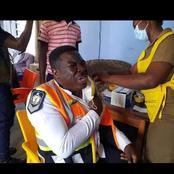 Fascinating As A Policeman Cries Bitterly During Covid 19 Vaccination (See Pictures).