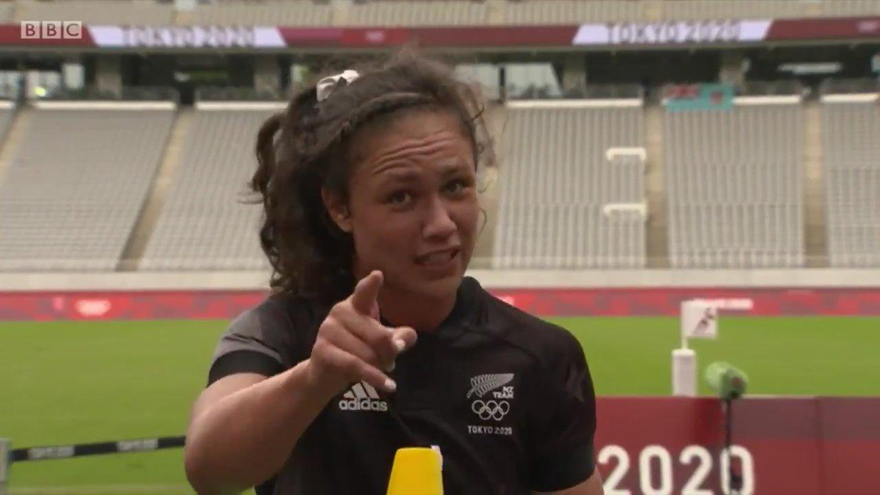 Watch 'best sports interview' as fans rave about 'refreshing' New Zealand rugby star Ruby Tui after Olympics win
