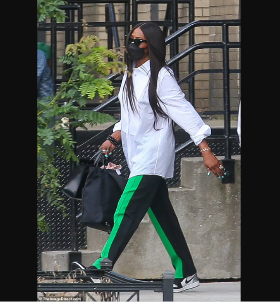 Supermodel Naomi Campbell, 50, is seen in public with her newborn daughter for first time (photos)
