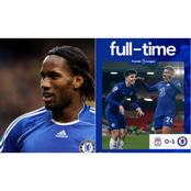 Chelsea Legend, Didier Drogba reacts to Chelsea's 1:0 win against Liverpool