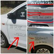Checkout What a Man Wrote Around His Car After He Divorced Wife That Has Sparked Mixed Reactions