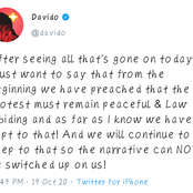 They are not part of our movement -Davido reacts to plans to scatter the peaceful protest