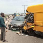 Passengers escape death as bus loses control, hits bridge barrier, crashes into car in Lagos