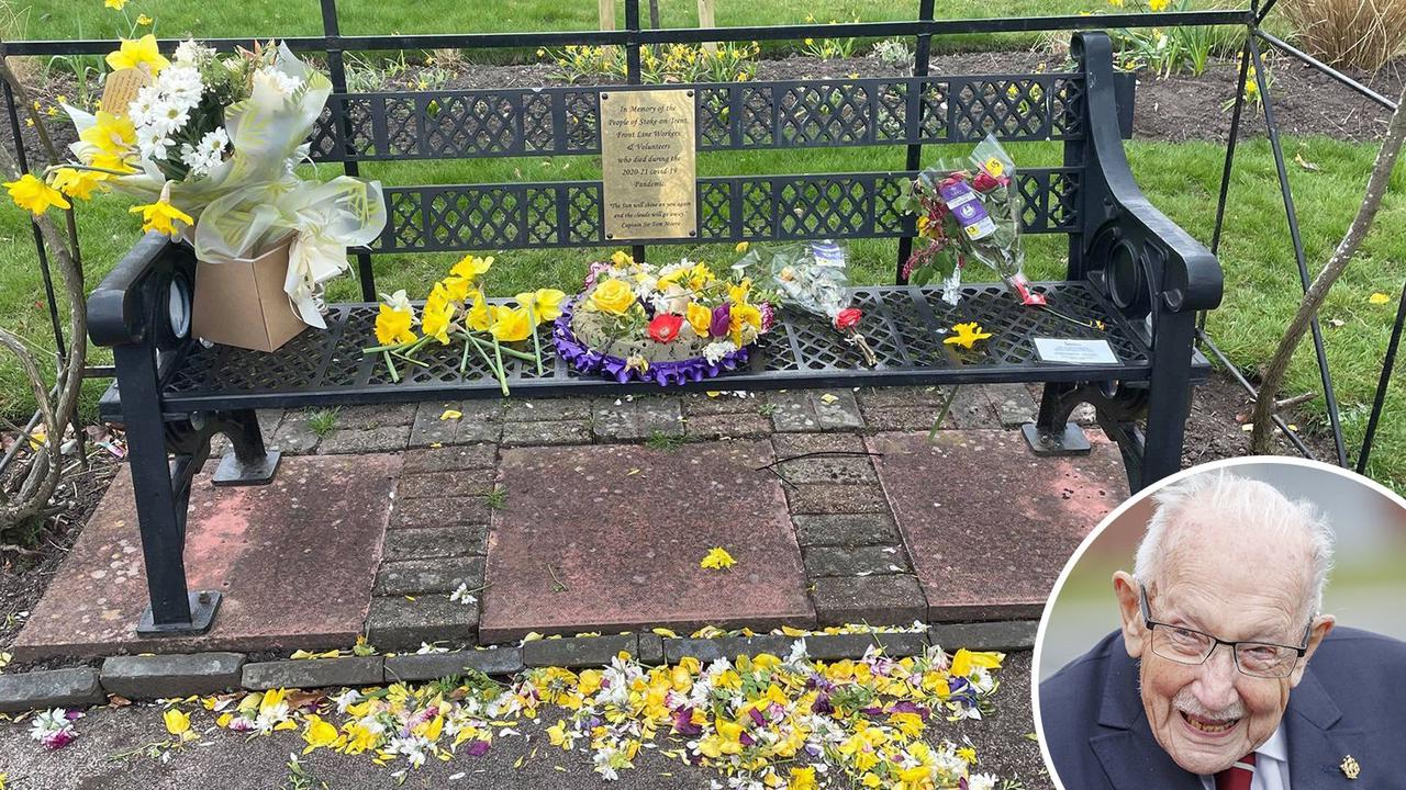 Thoughtless yobs rip out flowers and deface Captain Tom plaque at Covid memorial