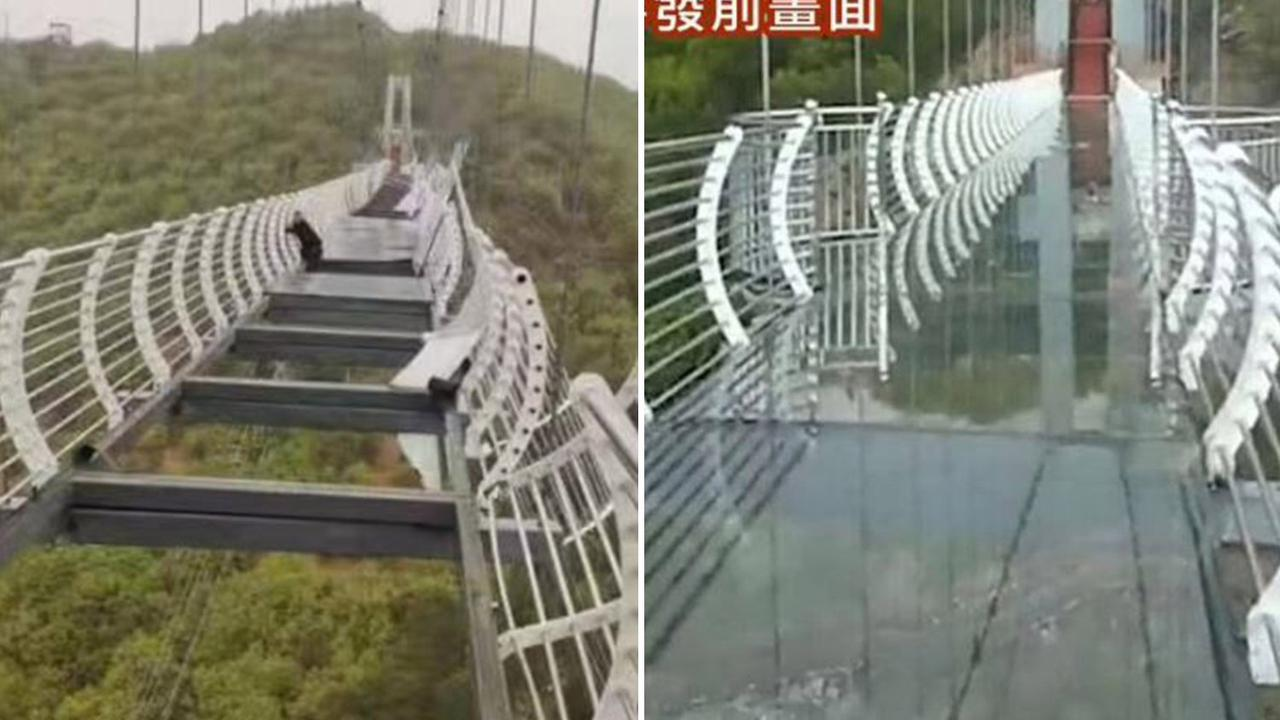 Terrifying pic shows man dangling 330ft in air after Chinese bridge shatters