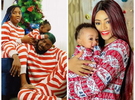 See Cute Photos Showing How Regina Daniels and Simi Celebrated Christmas with Their Babies.