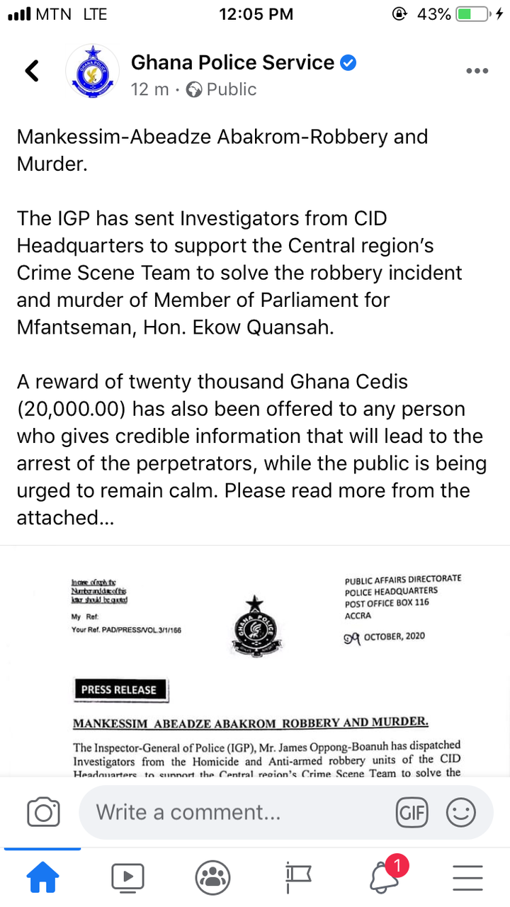 2e188e59b8b32e3f27b1d1c919dd5fce?quality=uhq&resize=720 - IGP Places GHC20,000 Bounty On The Alleged Robbers Who Shot And Killed The Mfantseman MP