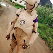 Creativity! See Photos Of A Young Boy Who Made Iron Man's Suits Using Cartons