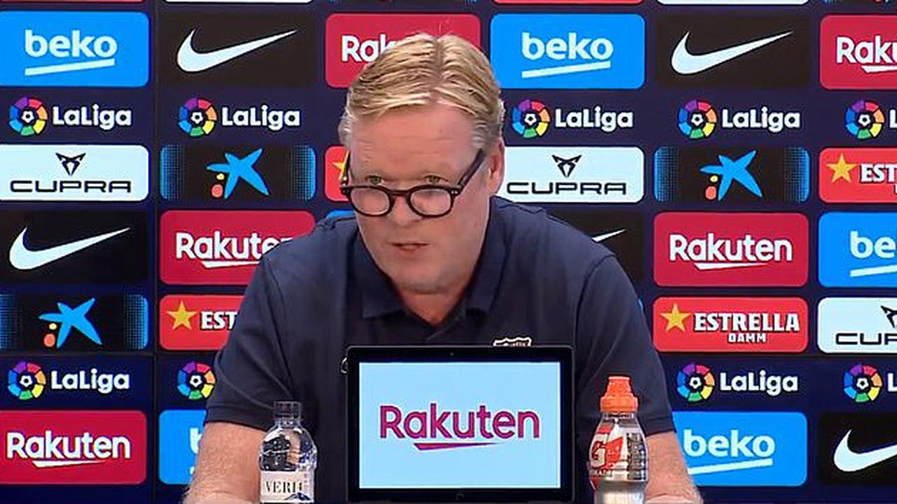 PETE JENSON: Storming out of a press-conference, seeing red on the touchline and title hopes in ruins. It's been Ronald Koeman's week from hell... but he remains relaxed knowing Barcelona can't afford the €12m to sack him