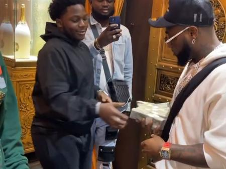Check Out The Diamond Hand Sanitizer He Davido Just 'Bought' (Video)