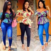Ladies, See Perfect Ways To Rock Your Ankara Tops With Jean Trouser