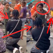 Checkout What This Lady Did To A Guy That Knelt Down To Propose To Her In The Market (Photos)