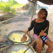 The Beautiful Nigerian Lady Who Fries Garri and Works In The Farm Just To Make A Living