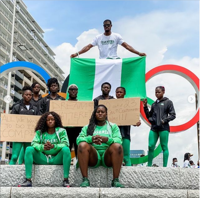 Tokyo 2020 Olympics: Disqualified Nigerian Athletes storm the streets of Japan to protest? (photos)