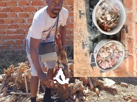 He's eating dog meat as part of the ritual he performs. Congolese national who scams Mzansi women.