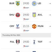 English Premier League Mid-Week fixtures for Tuesday, Wednesday, Thursday