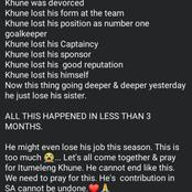 All this happened less than 90 days #lets pray for Itu Khune.
