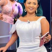 Married woman Nana Ama McBrown wears an open dress showing her melons on live tv