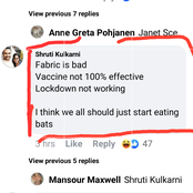 Vaccine is not 100% effective, I think we should start eating bats- A man react on covid new study