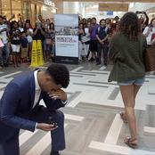 Drama as Man is Shamed By His Woman In Front of His Friends After He Went on His Knees to Propose