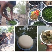 People reacts a Nigerian man shared pictures of Afang soup he prepared with chicken (See photos)