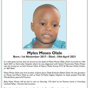 Online Fundraiser For Myles Moses Olale, Son To Seth Olale