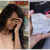 A lady purchased a beggar some food, a moment later he gave her a note that made her cry