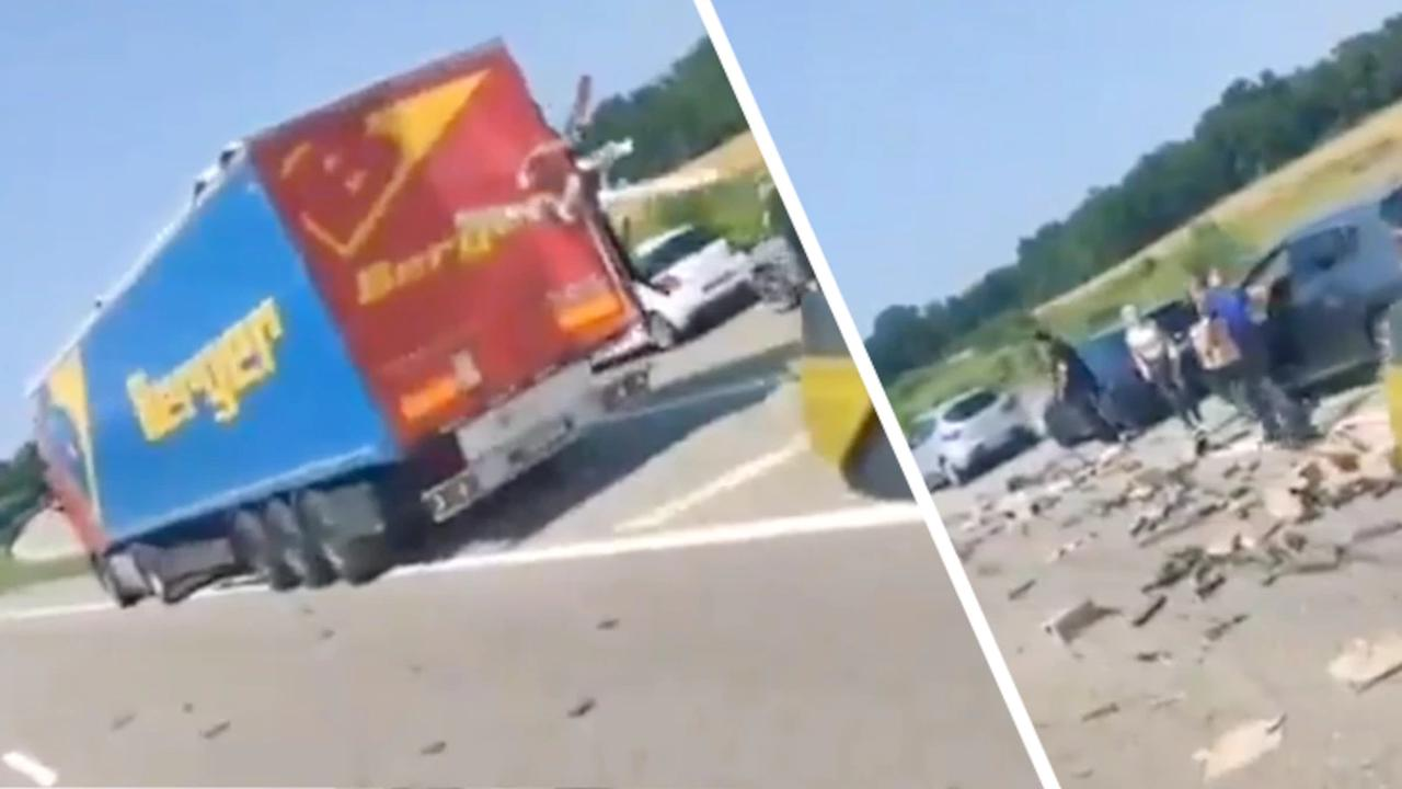 Unglaubliche Szenen auf A35: Autofahrer klauen Fracht von havariertem Espresso-Laster