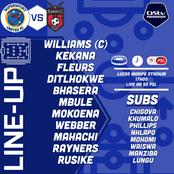 Confirmed SuperSport United starting XI against TS Galaxy