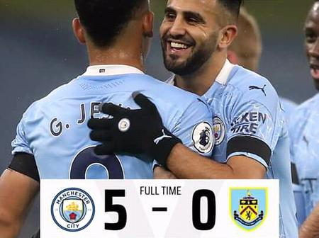 After Mancity Defeated Burnley 5-0, See Who Is Topping The Premier League Table