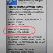 ONU : Pénurie d'hommes dans le monde, voici les chiffres