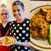 Foreigners reacts as White Lady shows off the Nigerian meal her mother-In-law prepared.