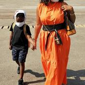 Beautiful photos of Mzbel and children spotted at airport