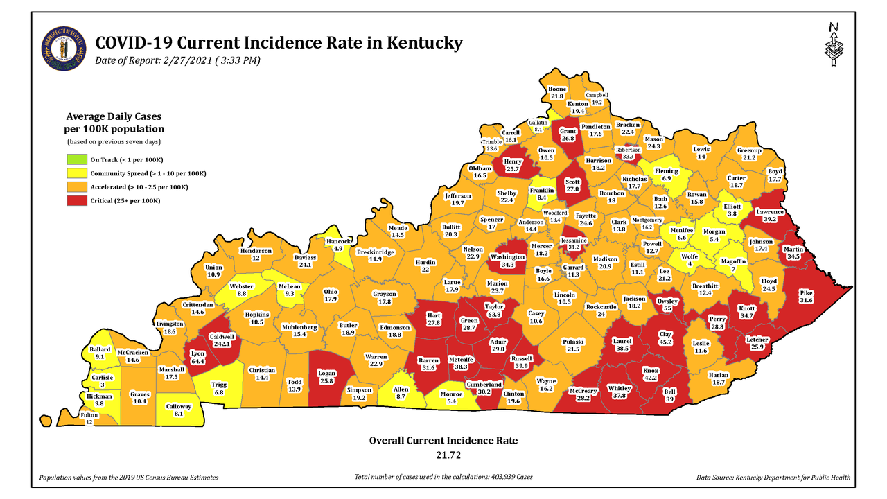 Kentucky Reports 1,025 New COVID Cases Saturday