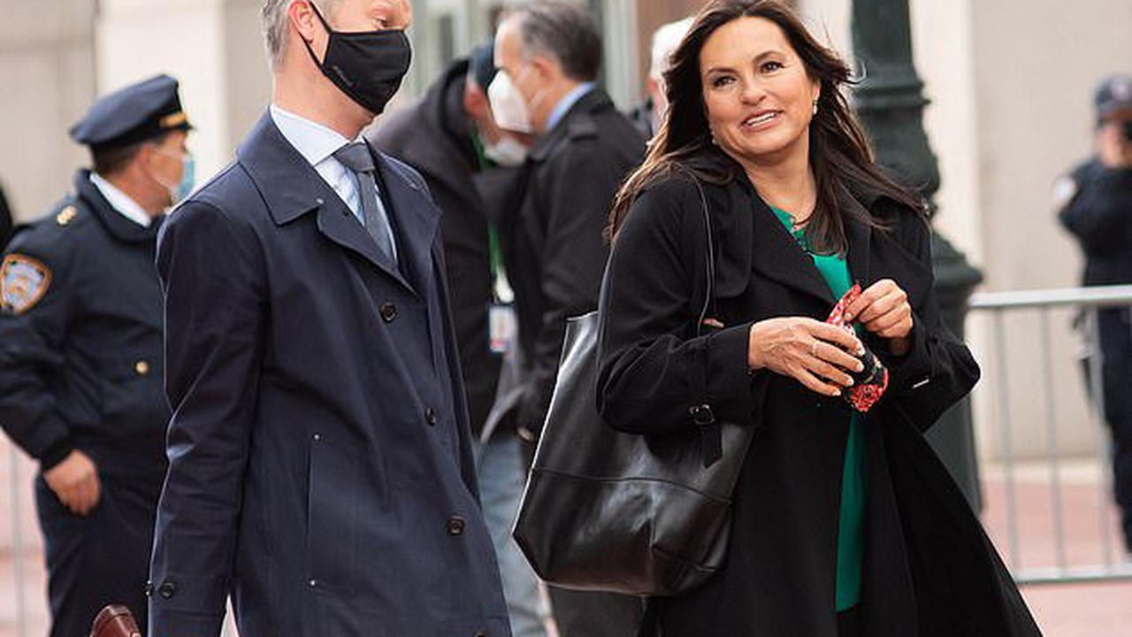 Mariska Hargitay and costar Peter Scanavino spotted hard at work on set of the upcoming season of Law And Order: Special Victims Unit in NYC