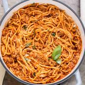 Preparing Sweet Spaghetti With Meat
